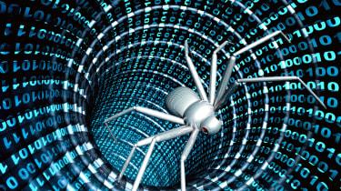 spider in digital tunnel