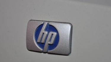 HP logo on a printer