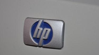 HP logo on a printer