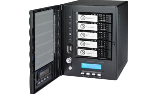 The Thecus N5200XXX with its five hard disk trays visible.