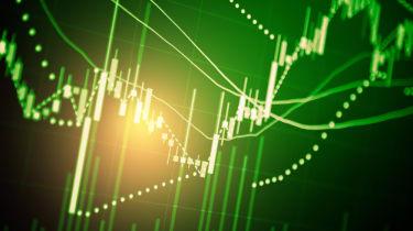 Green financial data chart rising up trend