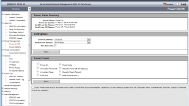 Full remote management is included as standard – even the server's power can be controlled from the web interface.