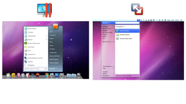Both applications can place a Windows Start menu on the OS X Desktop, but only Parallels Desktop 7 renders it faithfully.