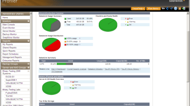 Profiler provides a detailed overview of total capacity on the network and in virtualised environments.