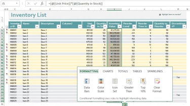 Excel 2013 - Quick analysis