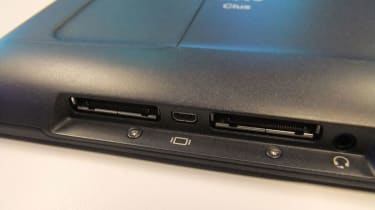 The Cisco Cius has an unusual two-port dock connector alongside its audio out and microHDMI ports