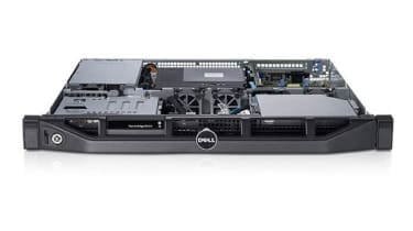 The Dell PowerEdge R210 II with its top off.