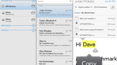 Copying and pasting text in the TouchPad email app