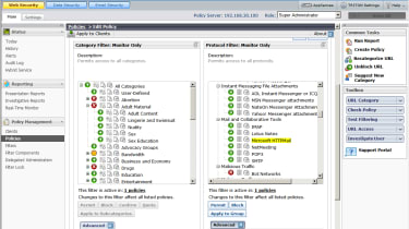 Websense provides comprehensive lists of web categories and protocols which can be combined in the same security policy.