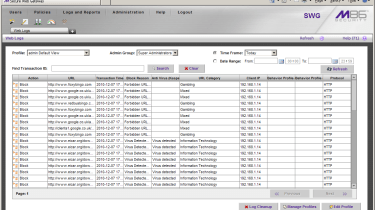 The appliance's logs provide detailed information about detected threats and blocked web sites.