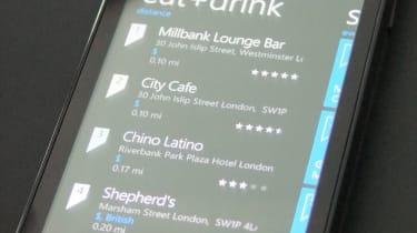 The Bing Local Scout feature in Windows Phone Mango