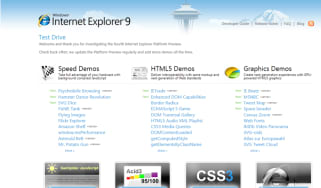 There are nine new demos showcasing IE 9's performance and features