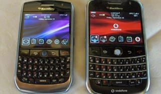 BlackBerry Curve 8900 (BlackBerry Javelin) alongside a BlackBerry Bold