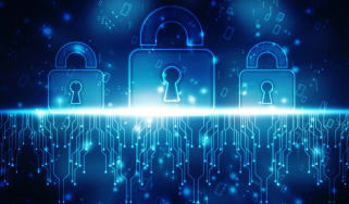 Three locks in binary code on a screen