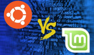 Graphic showcasing a showdown between Ubuntu and Mint