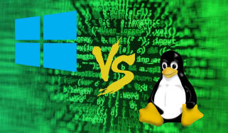 Abstract image showing logos for Microsoft Windows and Linux going head-to-head