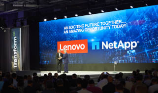 Lenovo's Kirk Skauger and NetApp's Brad Anderson shaking hands at Lenovo Transform 2.0 in New York City