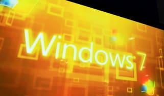 The Windows 7 branding shown on a massive screen