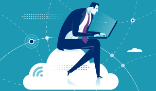 Businessman sits on a cloud while working on a laptop