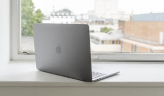 The Apple MacBook Pro 13in (2018) from the rear with the lid open