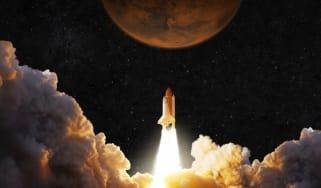 Rocket blasting off to Mars