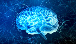 A vibrant blue digital brain on a dark blue background