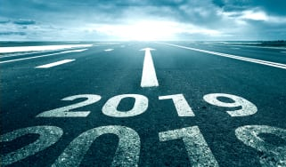 2019 on road with arrow pointing forwards