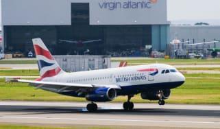 A British Airways plane taking off