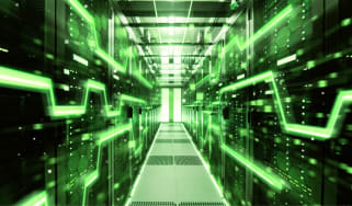 Data centre with green high speed visualisation projection overlay