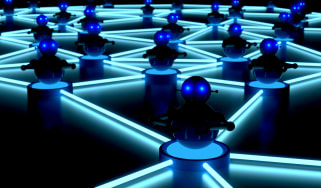 Image of small robots connected to represent a botnet