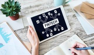 Fintech concept on tablet screen