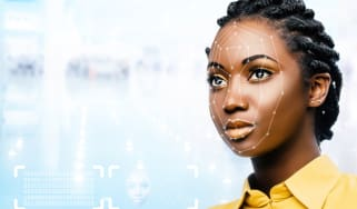 A woman's face being scanned by facial recognition technology