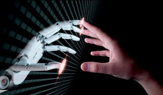 Robotic and human hands meeting