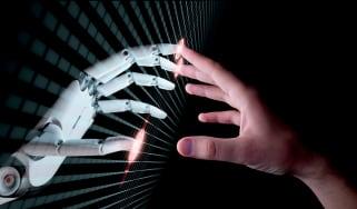 Robotic and human hands meeting