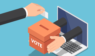 Graphic showing online voting, or online campaigning