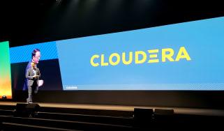 The new Cloudera logo displayed at DataWorks Summit 2019