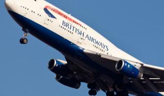 A BA plane in transit