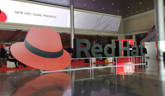 Red Hat sign at a convention centre in Boston
