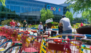 An image of Google offices with bikes outside