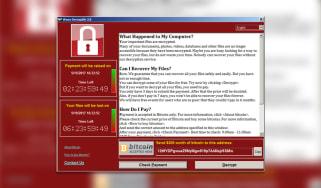 Wannacry ransomware screen on a desktop monitor