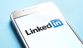 LinkedIn logo displayed on smartphone screen