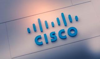Cisco logo in blue on grey background