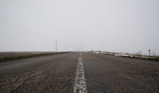 Faded road marking