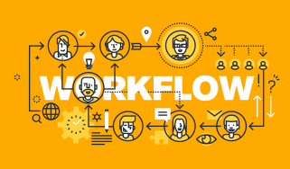 Abstract image of a black workflow diagram on a yellow background