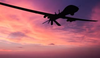 Silhouette of a military drone
