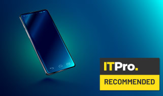 Abstract image of a smartphone on a blue background, alongside the IT Pro Recommended logo