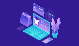 Computer showing e-commerce transaction