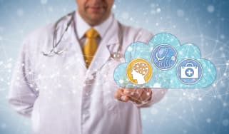 Doctor with an image of a cloud in front of him