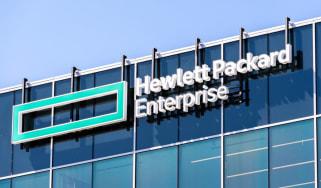 Hewlett Packard Enterprise (HPE) logo on a glass building