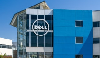 The Dell logo on the side of a building
